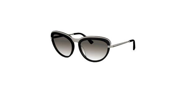 Dámske čierno-strieborné slnečné okuliare Nina Ricci