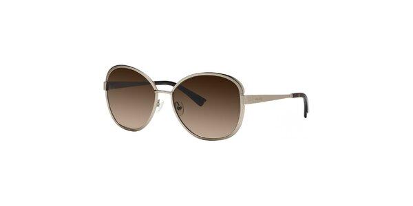 Dámske zlaté slnečné okuliare s hnedými sklami Nina Ricci