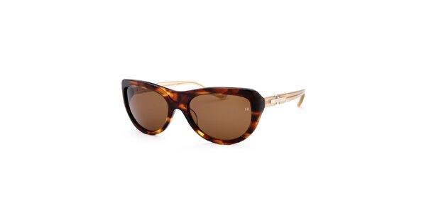 Dámske žíhané slnečné okuliare s kontrastnými stranicami Nina Ricci