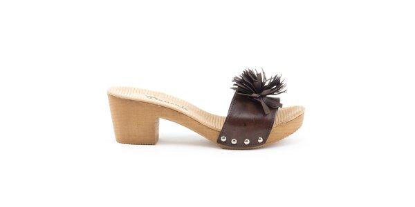 Dámske kožené sandále s tmavo hnedým remienkom Daneris