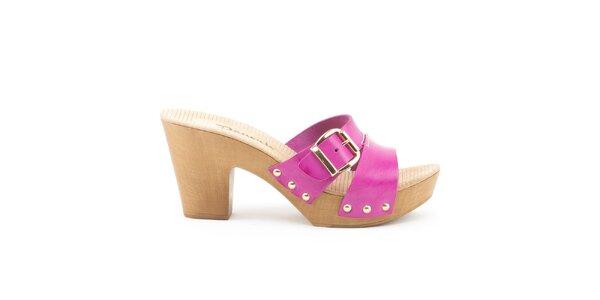 Dámske kožené sandále s fuchsiovými remienkami Daneris