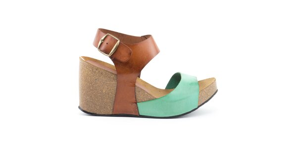 Dámske kožené sandále na kline so zeleným remienkom Daneris