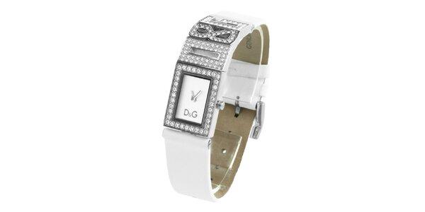 Dámske oceľové hodinky Dolce & Gabbana s kamienkami a bielym koženým remienkom