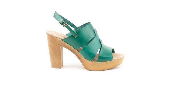 Dámske kožené sandále so zelenými remienkami na platforme Daneris