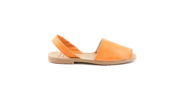 Dámske oranžové sandále z kože Daneris