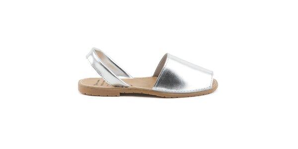 Dámske strieborné sandále z kože Daneris
