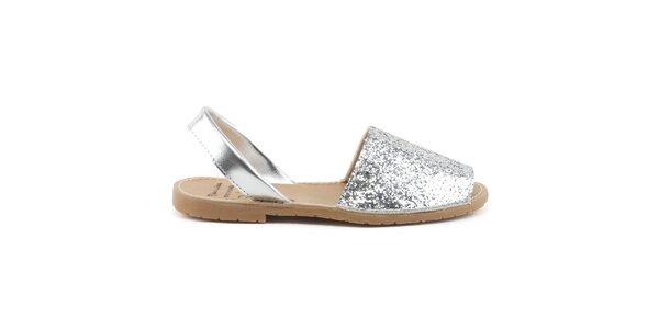 Dámske strieborné kožené sandále s flitrami Daneris