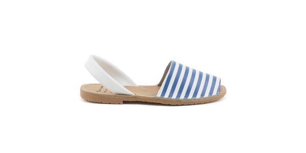 Dámske modro-biele sandále z kože Daneris