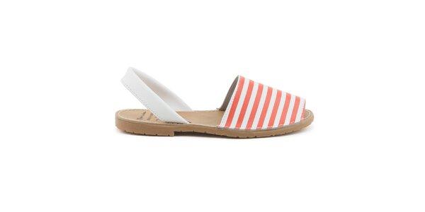 Dámske červeno-biele sandále z kože Daneris