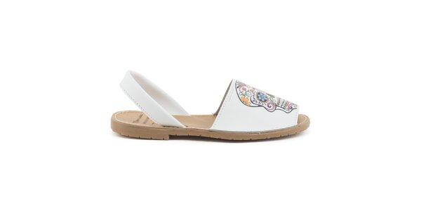 Dámske biele kožené sandále s farebnou lebkou Daneris