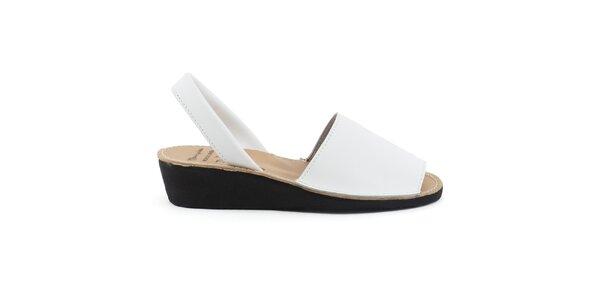 Dámske biele kožené sandále na kline Daneris