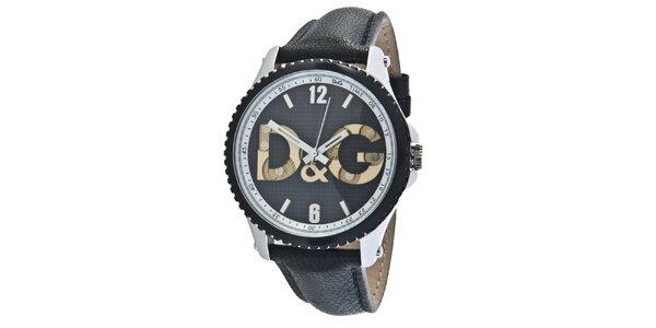 Pánske čierne oceľové hodinky Dolce & Gabbana s koženým remienkom