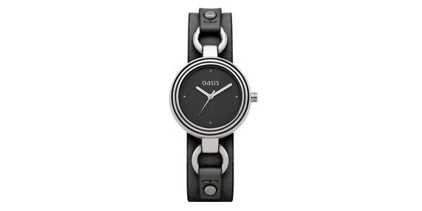 Dámske oceľové hodinky s čiernym koženým remienkom Oasis