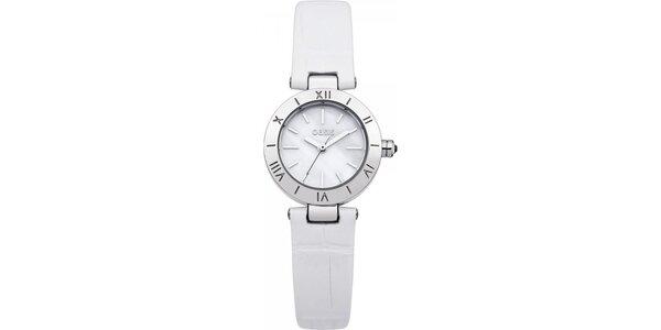 Dámske hodinky s bielym koženým remienkom Oasis