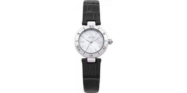 Dámske hodinky s čiernym koženým remienkom Oasis