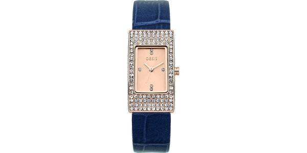 Dámske obdĺžnikové hodinky s modrým remienkom Oasis