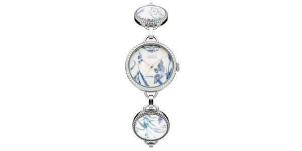 Dámske strieborné hodinky so vzorom Oasis