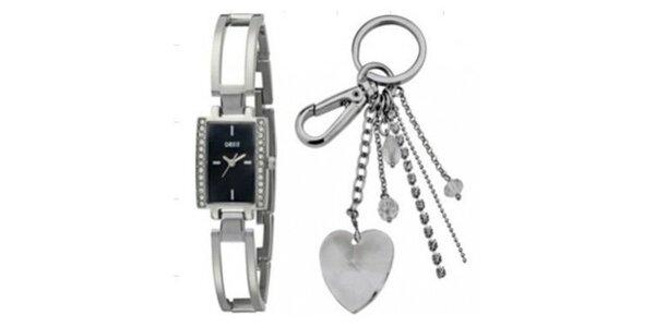 Dámske oceľové hodinky a kľúčenka Oasis