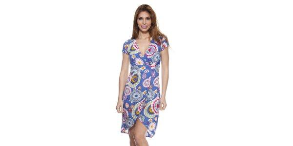 Dámske modré šaty so zavinovacím výstrihom Janis