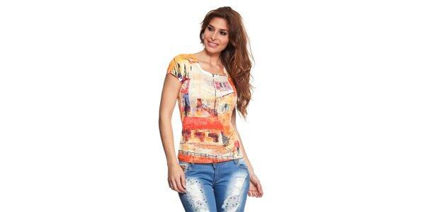 Dámske tričko s oranžovou potlačou Janis