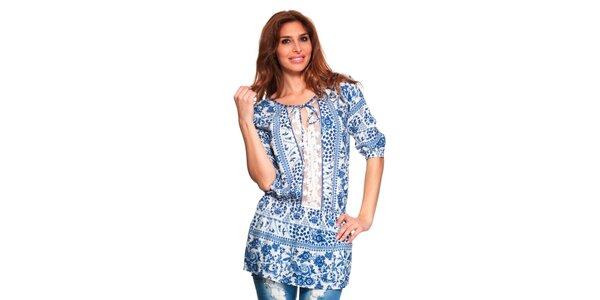 Dámska modro-biela tunika s čipkovanou vsadkou Janis