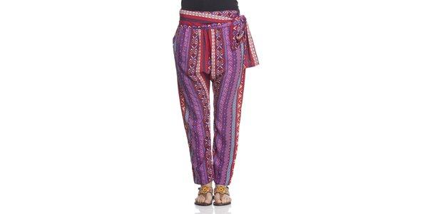 Dámske fialovo-červené nohavice Janis