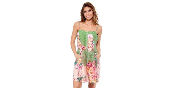 Dámske zeleno-ružové šaty na ramienka Janis