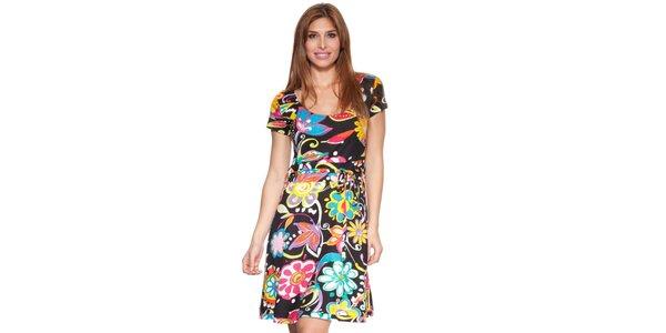 Dámske farebné šaty s krátkymi rukávmi Janis