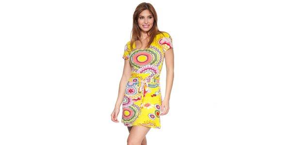 Dámske žlté šaty s potlačou Janis