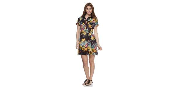 Dámske čierne kvetované šaty s límčekom Janis