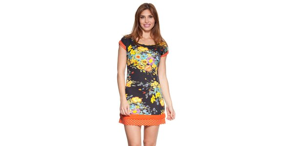 Dámske kvetované šaty s bodkovanými lemami Janis