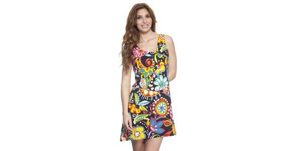 Dámske farebné šaty s asymetrickým výstrihom Janis