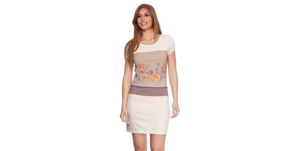 Dámske béžové šaty s kvetinkami Janis