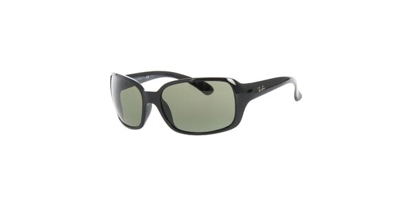 Dámske čierne slnečné okuliare so zelenými sklami Ray-Ban