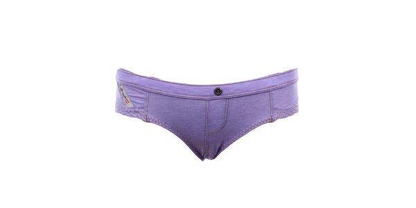 Dámske fialové nohavičky s čipkou Diesel