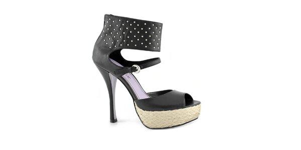 Dámske čierne topánky na opätku a platforme Café Noir