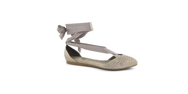 Dámske béžové topánočky so šnurovaciou mašľou Café Noir