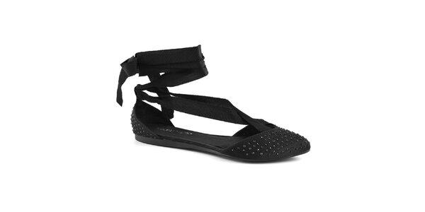 Dámske čierne topánočky so šnurovaciou mašľou Café Noir