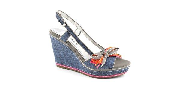 Dámske džínsové sandále na platforme Café Noir