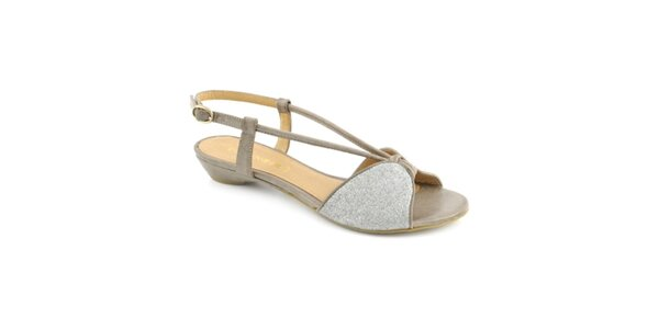 Dámske šedo-strieborné sandále Café Noir