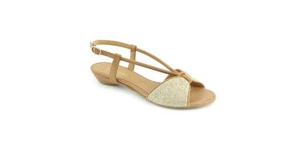 Dámske béžovo-zlaté sandále Café Noir