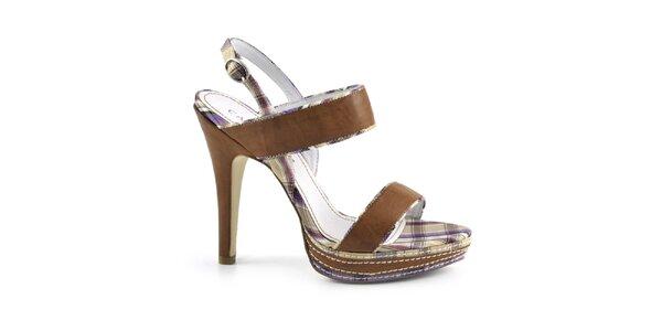 Dámske hnedé sandále s kockovanými detailmi Café Noir
