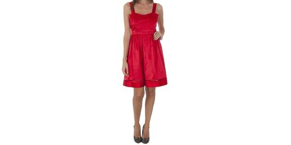 Dámske červené saténové šaty Naf Naf