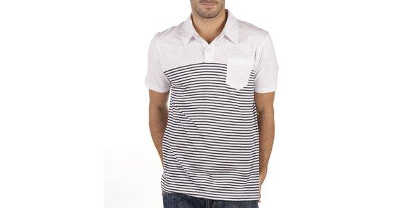 Pánske biele polo tričko s tmavými prúžkami New Caro