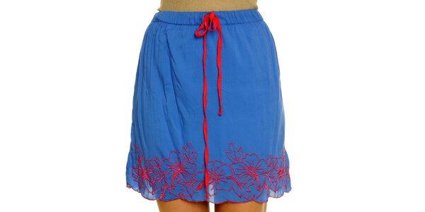 Dámska modrá sukňa s červenou výšivkou Nice Things
