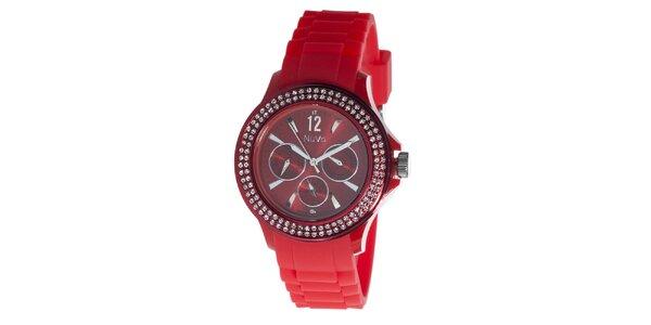 Červené hodinky NuVo so Swarovski Elements