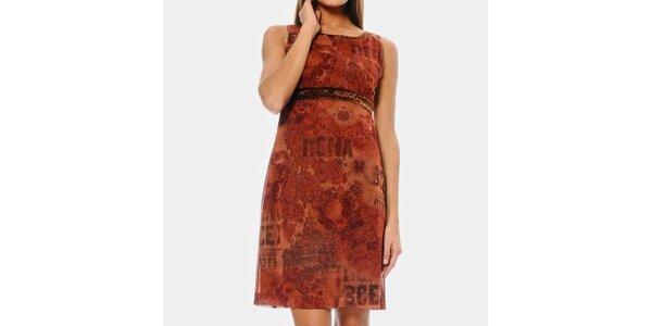 Dámske tehlovo červené šaty ODM Fashion
