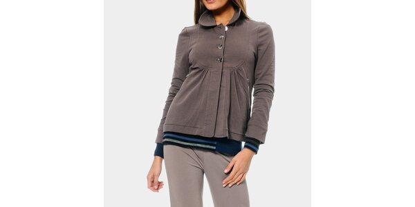 Dámska šedá mikina s límčekom ODM Fashion