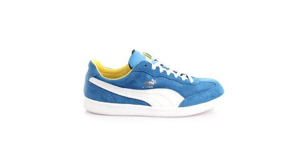 Pánske semišové modré tenisky s bielymi prvkami Puma