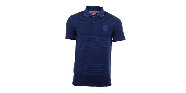 Pánske tmavo modré polo tričko s prúžkami Puma